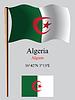 Algerien wellig Flagge und Koordinaten