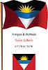 Antigua und Barbuda wellig Flagge und Koordinaten