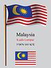 Malaysia wellig Flagge und Koordinaten