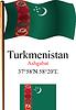 Turkmenistan wellig Flagge und Koordinaten