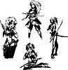 Jugendliche Mädchen mit Schwertern
