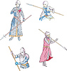 Vector clipart: Set of knights with spears