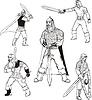Russische Bogatyrs mit Schwertern