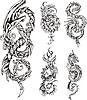 Stilisierte Drachen Knoten Tätowierungen