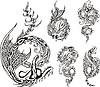 Stilisierte Drachen tattos | Stock Vektrografik