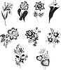 Flores blancas y negras estilizadas | Ilustración vectorial