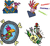 Pirat und Papagei Cliparts