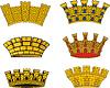 Wappen europäischen Stadtmauerkronen