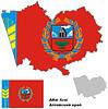 Übersichtskarte der Region Altai mit Flagge