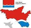 Übersichtskarte der Oblast Amur mit Flagge