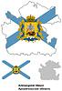 Übersichtskarte der Oblast Archangelsk mit Flagge