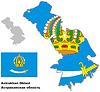 skizzieren Karte von Astrakhan mit Flagge