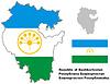 Übersichtskarte der Republik Baschkortostan mit Flagge