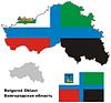 Übersichtskarte der Oblast Belgorod mit Flagge