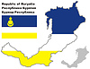 Übersichtskarte von Burjatien mit Flagge