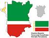 Übersichtskarte von Tschetschenien mit Flagge