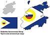 Übersichtskarte von Tschukotka mit Flagge