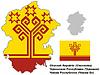 Übersichtskarte von Tschuwaschien mit Flagge