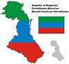 Übersichtskarte von Dagestan mit Flagge