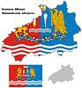 Übersichtskarte von Ivanovo Oblast mit Flagge