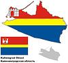 Übersichtskarte der Oblast Kaliningrad mit Flagge