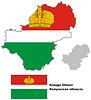 Übersichtskarte der Region Kaluga mit Flagge