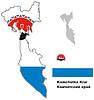skizzieren Karte von Kamtschatka Krai mit Flagge