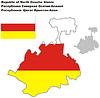 ID 4346708 | Übersichtskarte von Nordossetien-Alania mit Flagge | Stock Vektorgrafik | CLIPARTO