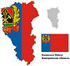 Übersichtskarte von Kemerovo Oblast mit Flagge