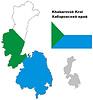 Übersichtskarte der Region Chabarowsk mit Flagge