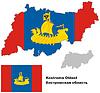 Übersichtskarte der Oblast Kostroma mit Flagge
