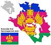 Übersichtskarte der Region Krasnodar mit Flagge