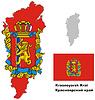 Übersichtskarte der Region Krasnojarsk mit Flagge