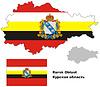 Übersichtskarte der Oblast Kursk mit Flagge