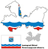 Übersichtskarte der Oblast Leningrad mit Flagge
