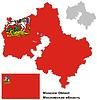 skizzieren Karte von Moskau Oblast mit Flagge