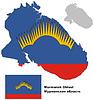 Übersichtskarte der Oblast Murmansk mit Flagge