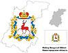Übersichtskarte der Oblast Nischni Nowgorod mit Fahne