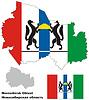 Übersichtskarte der Oblast Nowosibirsk mit Fahne