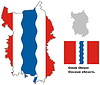 Übersichtskarte von Omsk Oblast mit Fahne