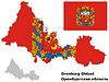 Übersichtskarte von Orenburg Oblast mit Fahne