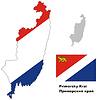 Übersichtskarte der Region Primorje mit Fahne