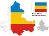 Übersichtskarte der Oblast Rostow mit Fahne