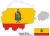 Übersichtskarte der Oblast Rjasan mit Fahne