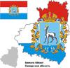 Übersichtskarte des Oblasts Samara mit Flagge