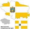 Übersichtskarte der Region Stawropol mit Fahne