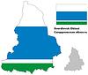 Übersichtskarte der Oblast Swerdlowsk mit Fahne