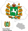 Übersichtskarte der Region Tomsk mit Fahne