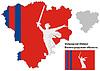 Übersichtskarte der Oblast Wolgograd mit Fahne