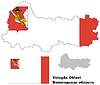 Übersichtskarte der Region Vologda mit Fahne